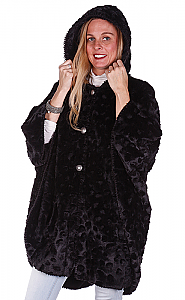 Andrea Faye Seville Black Faux Fur Adult Hooded Cape