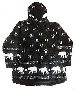 Snowflakes & Polar Bears Plush Fleece Jacket with Hood (Sm, Md)