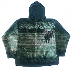 Sale - Moose Hooded Plush Fleece Jacket with Hood Adult (Sm - 2x)