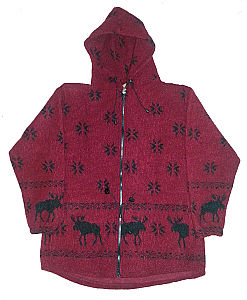 Sale Red Moose Snowflakes Looped Wool / Fleece Hooded Jacket Adult (Sm - 3X)