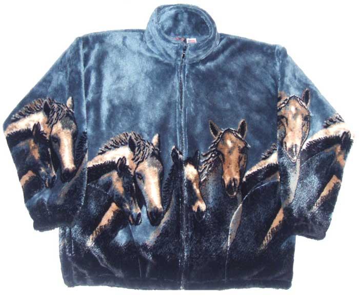 Kids Junior Child Denim Night Horses Fleece Jacket