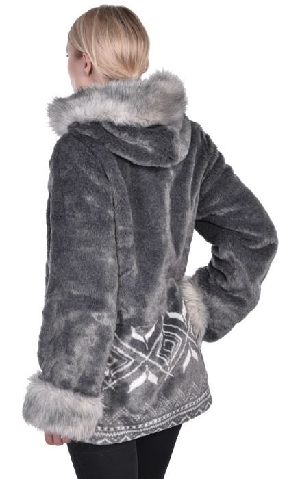 Nuage Marco Womens Faux Fur Hooded Gray Fully Lined Jacket