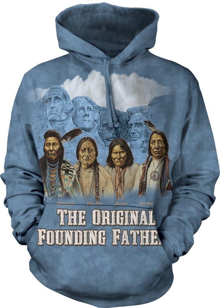THE FOUNDERS ADULT HOODIE SWEATSHIRT THE MOUNTAIN NATIVE AMERICAN