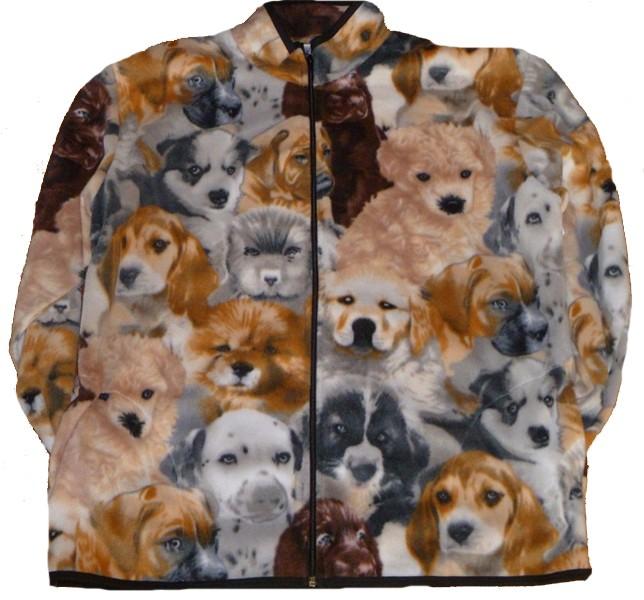 Reversible Fleece Puppies Dog Print Jacket Beagle Lab Husky Dalmation Boxer Golden Retriever Sheep Dog