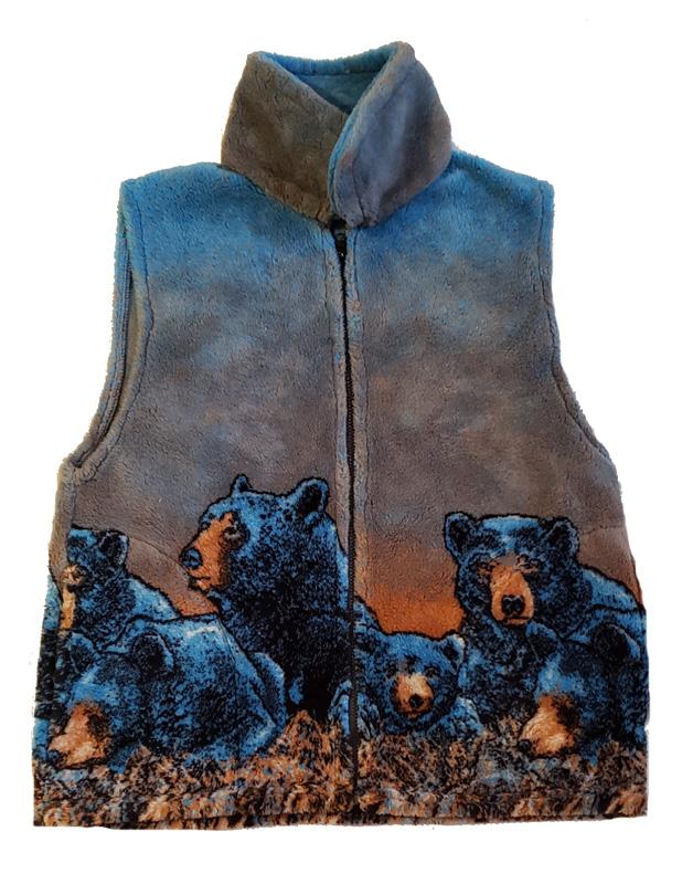 Bear Meadow Plush Fleece Vest (Sm, Med)