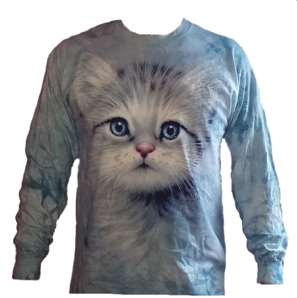 The Mountain Long Sleeve Cat Face TShirt Blue Eyes Tee (Med - XL)