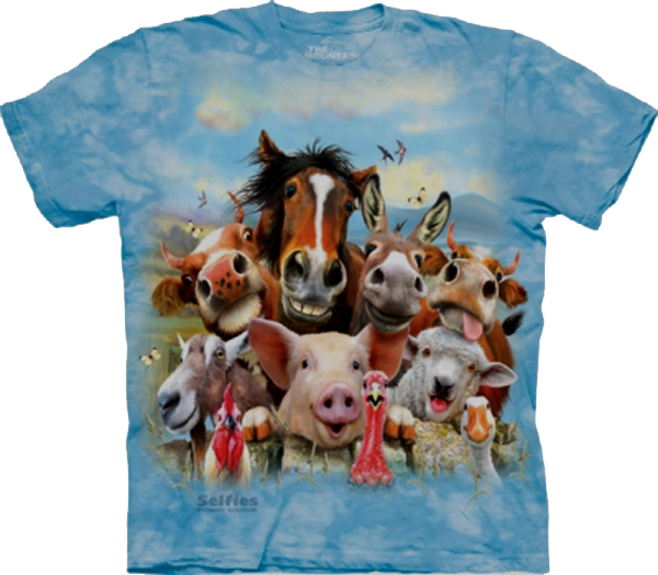 The Mountain Farm Selfie ADULT Short Sleeve T-Shirt horse, donkey, cow, pig, goat, rooster, sheep, turkey, duck (Sm - 5X)