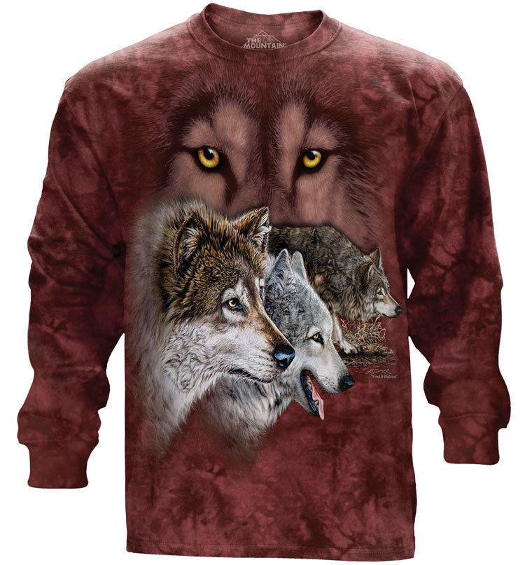 The Mountain Find 9 Wolves Hidden Wolf Image Long Sleeve T-Shirt (Sm - 2X)