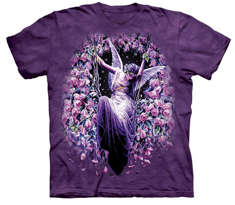 The Mountain Gatekeeper Short Sleeve Angel Roses Fantasy T-Shirt (Sm - XL)