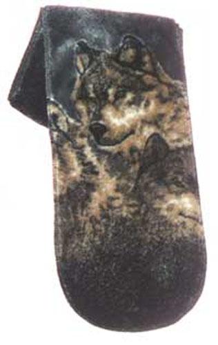 Gray Wolf Plush Fleece Scarf