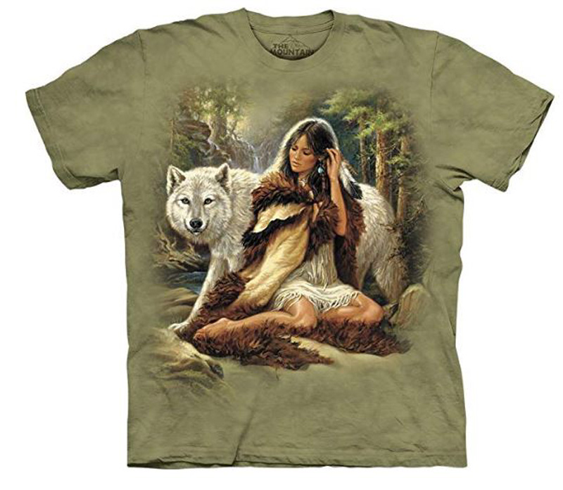 New The Mountain Protector Native American Indian Maiden Wolf T-Shirt (Md - 2X)