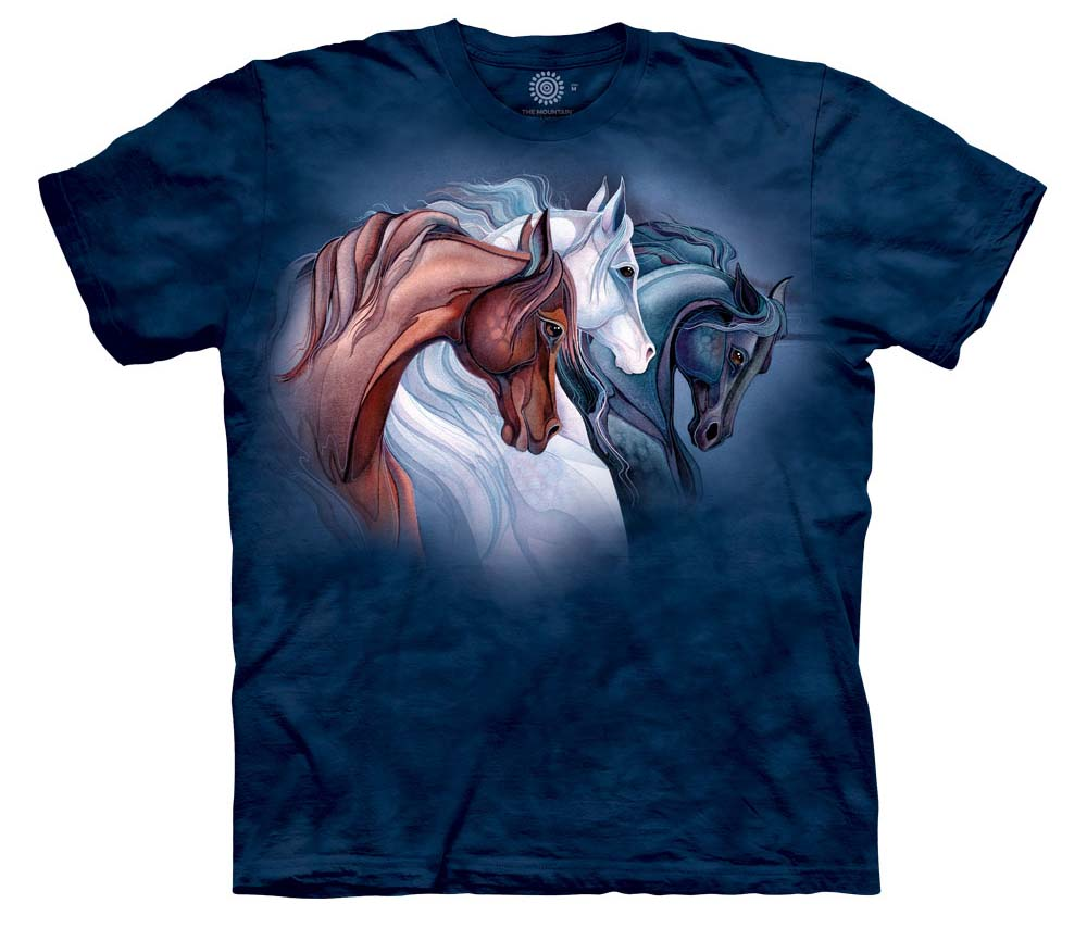 The Mountain Sisters of the Wind Short Sleeve Horse Print T-Shirt by artist Jody Bergsma (Sm - 3x)