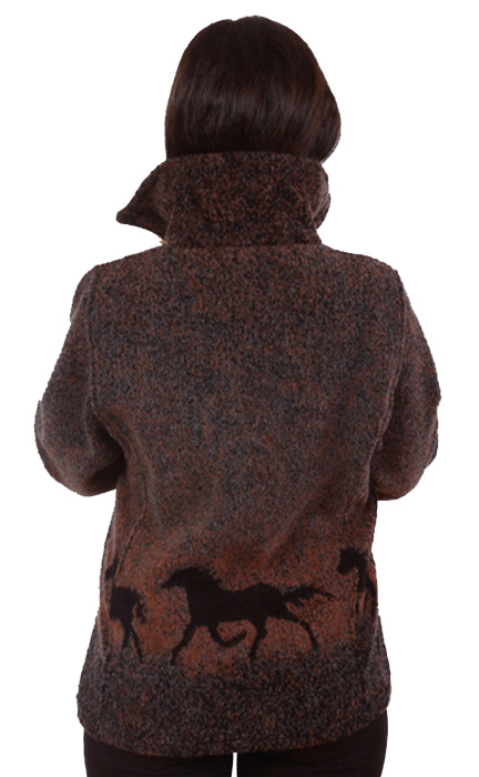 Sunrise Horses Looped Wool / Fleece Cinchback Jacket (XS - 3X)