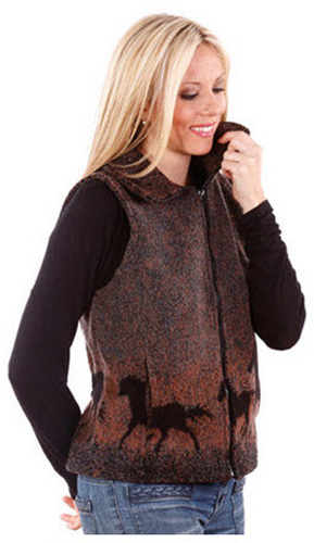 Sunrise Horses Looped Wool / Fleece Cinchbach Vest (Xs - 3x)