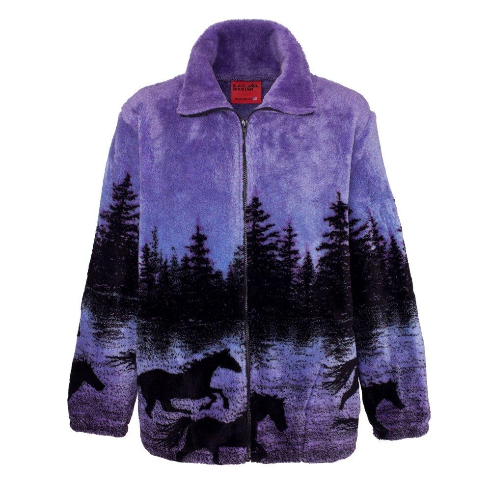 Black Mountain Twilight Horses Plush Fleece Jacket Midnight Run Adult (XS - 3X)