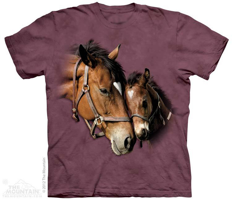 The Mountain Two Hearts Short Sleeve Mare & Foal Horse Print T-Shirt (Sm - 2x)