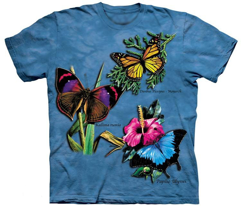 The Mountain Butterfly Winged Collage Monarch Ulysses Swallowtail T-Shirt (Sm, Md)