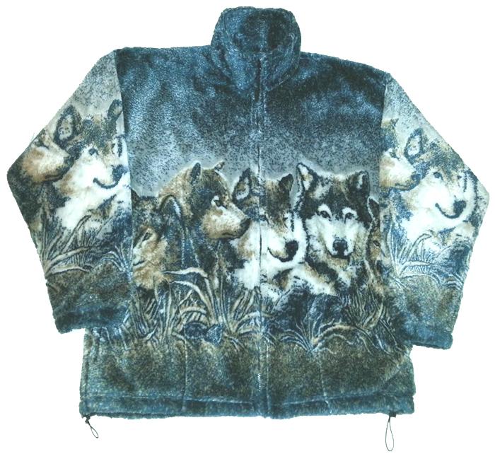 Wolf Faces Plush Fleece Wolves Print Jacket Adult (XS - 4X)