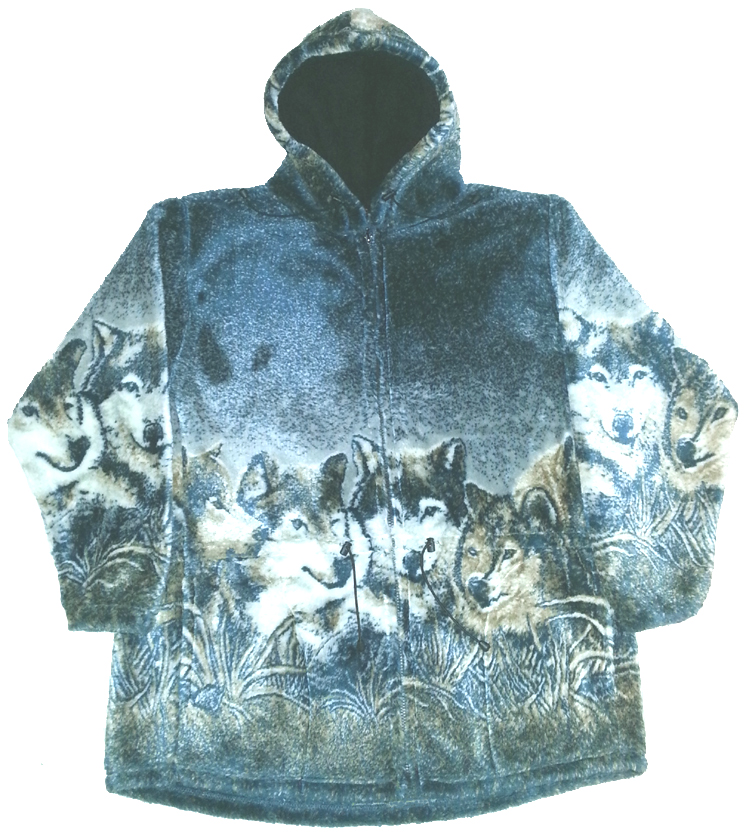 Wolf Faces Plush Fleece Hooded Wolves Jacket (Sm - 4X)