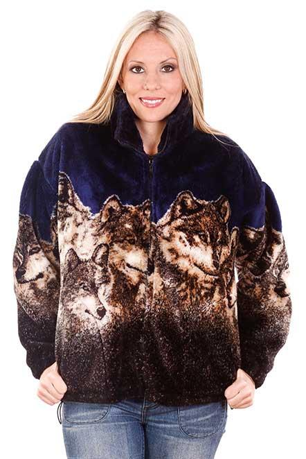 Wolf Faces Navy Plush Fleece Jacket Adult (3X)