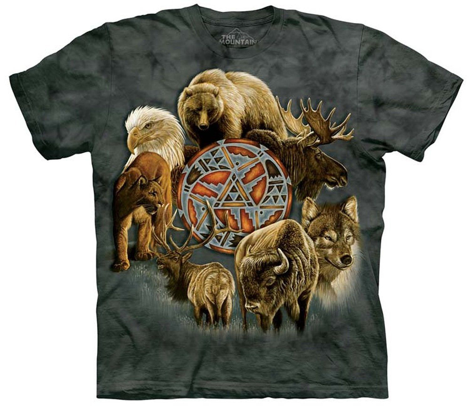 Animal Spirit Shield Eagle Wolf Moose Elk Buffalo Mountain Lion T-Shirt The Mountain
