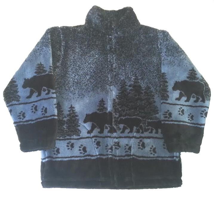 Black Bears Plush Fleece Jacket Adult (Xs - 4X)