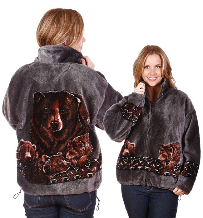 Bears Pewter Adult Plush Fleece Grizzly Brown Bear Jacket Adult (Xs - 2X)