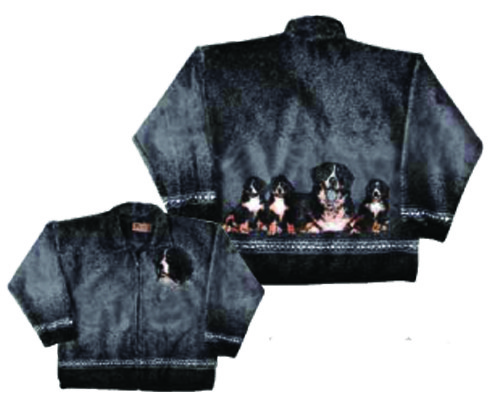 Bernese Mountain Dog Plush Fleece Jacket Adult (Sm - 2x)