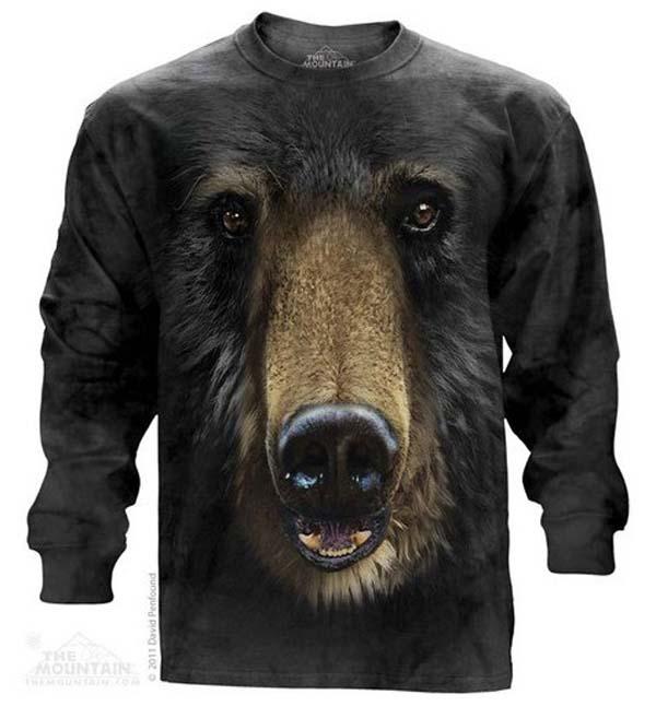 The Mountain Black Bear Face Long Sleeve T-Shirt (Sm - 3X)