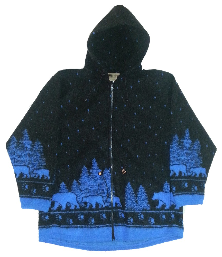 Black Bears Looped Wool / Fleece Hooded Jacket Adult (Sm - 3X)