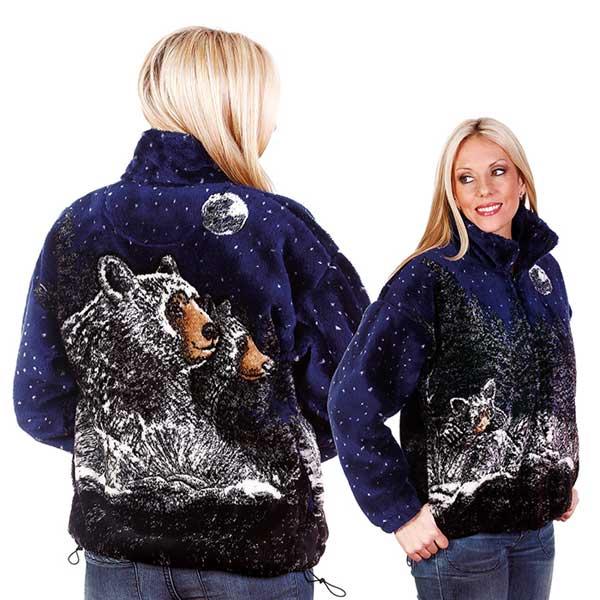 Bear Ridge Moonlight Black Bears Plush Fleece Jacket Adult (Lg, XL)