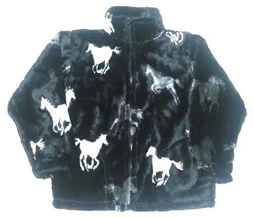 Running Black Horses Plush Fleece Jacket Junior Size