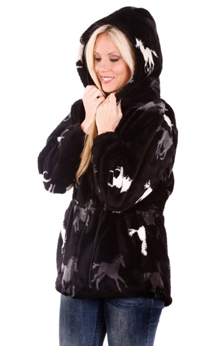 Running Horses Black Plush Fleece Hooded Horse Jacket Adult (3X, 4X)