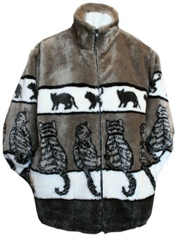 Black Mountain Sitting Cats Plush Fleece Jacket Adult (XS - 4X)