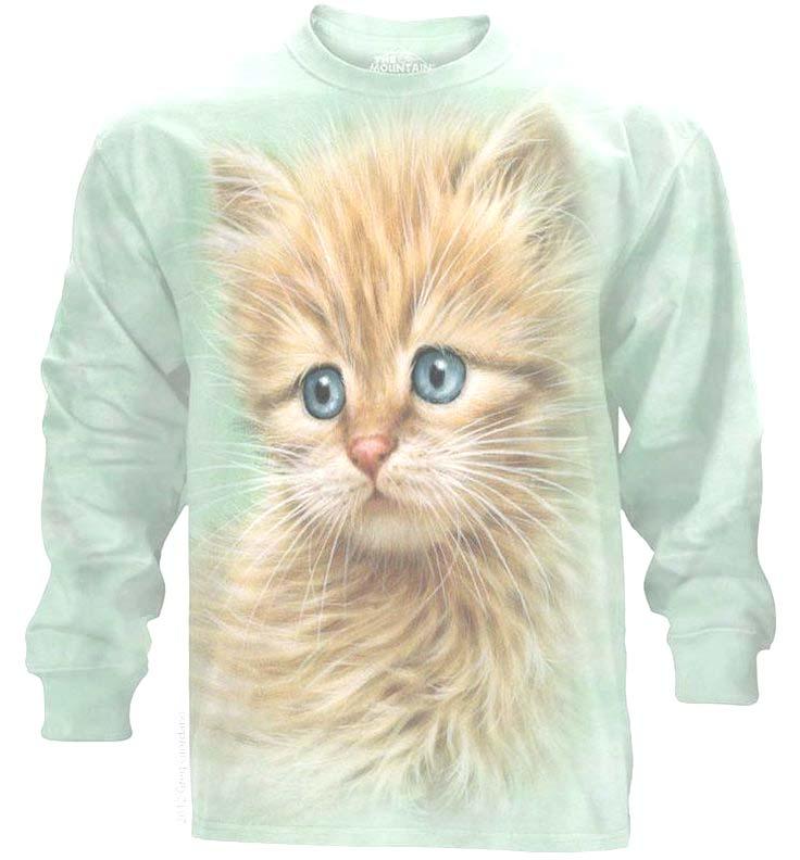 The Mountain Blue Eyed Kitten Face Long Sleeve Cat T-Shirt (2X, 3X)