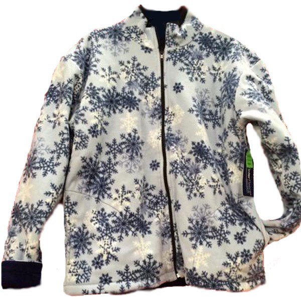 Reversible Polar Fleece Blue Snowflakes Jacket (Sm - 3X)