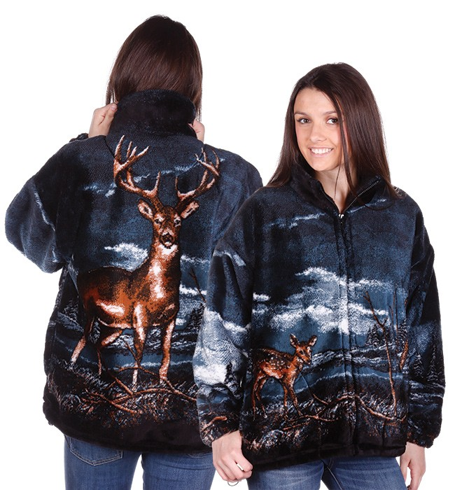 Bear Ridge Buck Whitetail Deer Plush Fleece Jacket Adult (Xs - Lg)