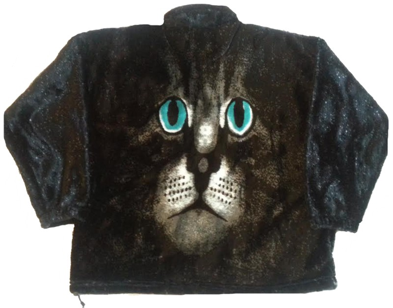Cat Face Adult Plush Fleece Cat Jacket (Med, Lg, Xl)