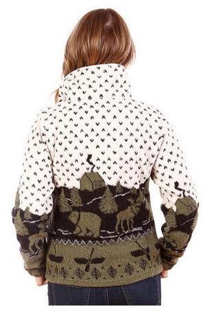 Country Cabin Looped Wool Cinchback Black Bears Moose Jacket by Bear Ridge Outfitters (Lg, XL)