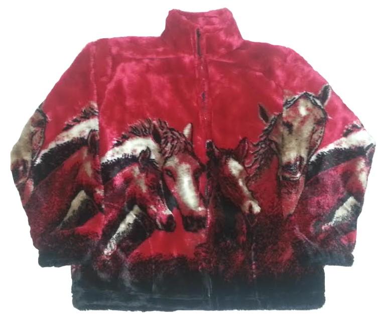 Crimson Red Horses Plush Fleece Jacket Kids & Junior Size