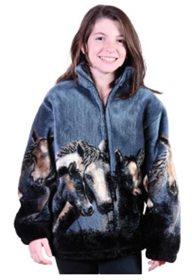Denim Night Horses Plush Fleece Jacket Junior Size