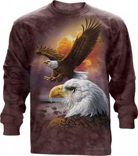The Mountain Eagle and Clouds Long Sleeve Shirt Bald Eagle TShirt  (Sm)