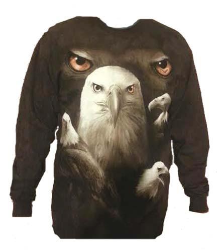 The Mountain Eagle Moon Eyes Long Sleeve Shirt Bald Eagle TShirt (XL)