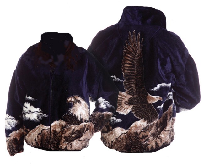 Bald Eagle Navy Plush Fleece Jacket Adult (XS - 2x)