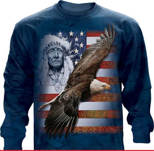 "The Mountain ""Spirit of America"" Bald Eagle Native American Long Sleeve T-Shirt (Med, XL)"