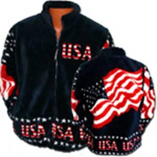 Black Mountain Stars and Stripes USA Flag Plush Fleece Jacket Adult (3X)