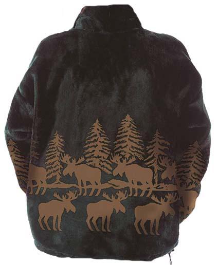 Mazmania Forest Moose Microplush Fleece Jacket Adult (Sm - 2X)