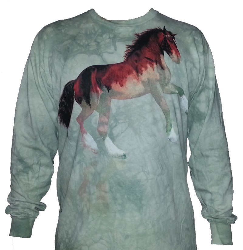 The Mountain Forest Horse Long Sleeve Equestrian Riding Shirt (Lg, XL)