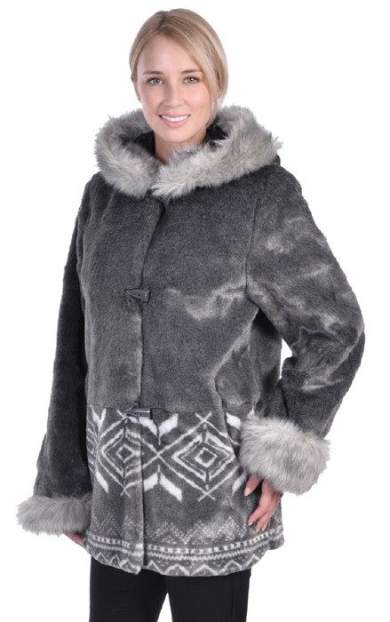 Womens Washable Gray Faux Fur Hooded Jacket with Full Satin Lining Adult (Sm - 1X)