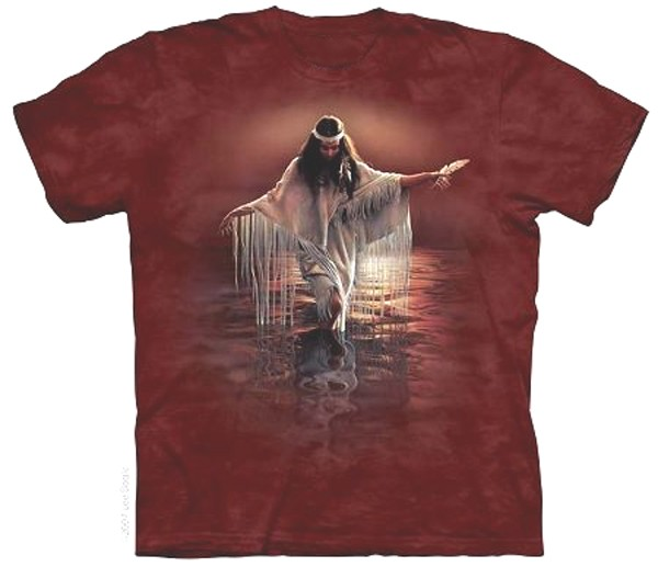 The Mountain Golden Reflections Native American Woman Maiden T-Shirt (Sm - XL)